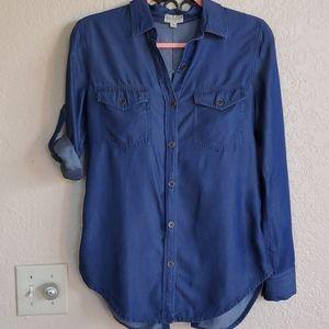 Maison Jules denim button long sleeve blouse